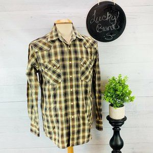 Lucky Brand Western Pearl Snap Shirt Plaid S